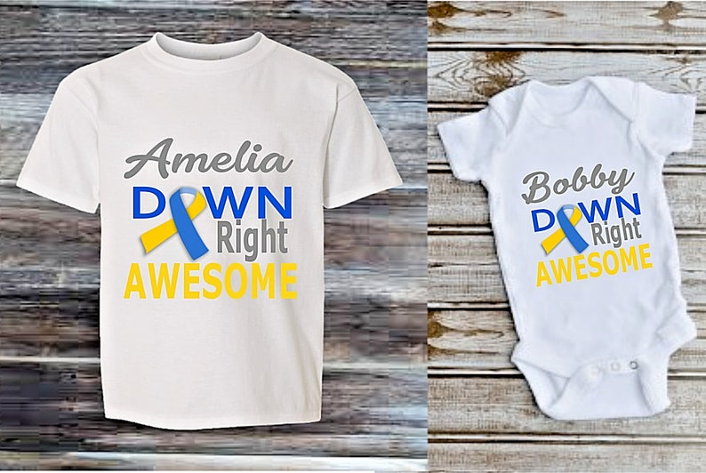 Personalised downs syndrome awareness boy girl BABY babygrow T-SHIRT GIFT kids top KT21