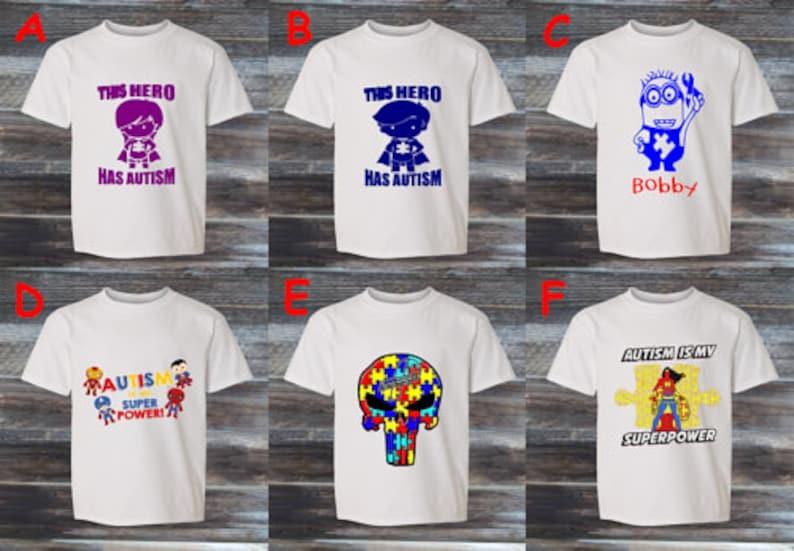 PERSONALISED AUTISM SUPERHERO awareness top kids t shirt boy girl clothes asd autistic KT40