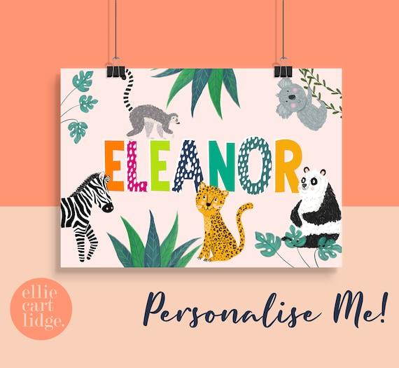 Personalised Jungle Animal Name Print / Childrens Room Decor / Nursery Print