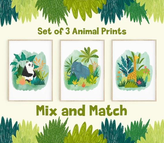 Set of 3 or 6 Jungle Animal Illustration Prints / Nursery Art Prints / Jungle Room Decor