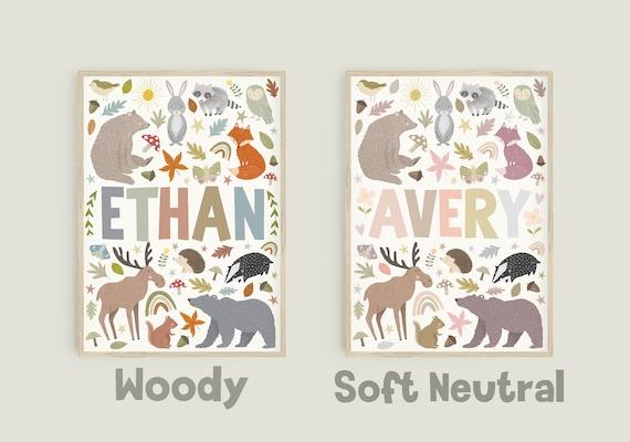Woodland Animal Personalised Name Print / Nursery Wall Decor / Unisex Print