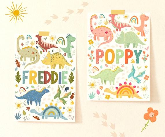 Personalised Dinosaur Name Print / Nursery Kids Wall Art