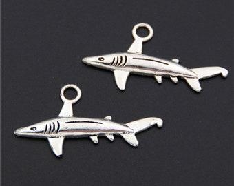 092174ff7 25 pcs, Large shark charms, Silver shark charms, Antique silver charms,  Metal charms, Cheap shark charms, Sea animal charms, 20x36 mm, A503