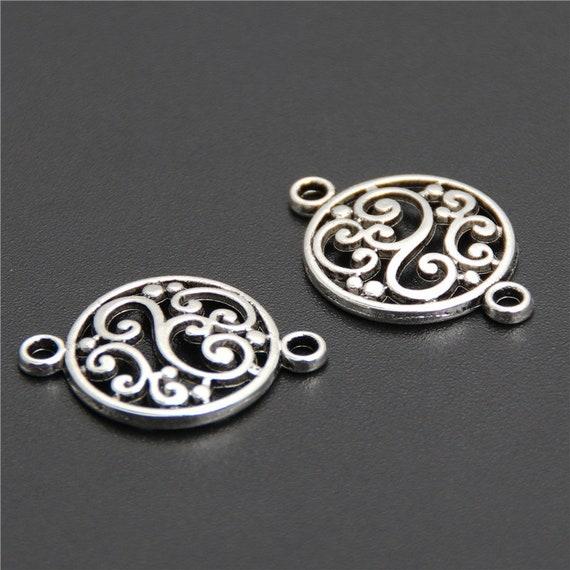50//75pcs Lotus Flower Tibetan Silver Charms Pendants Bead Jewelry Making 15*17mm