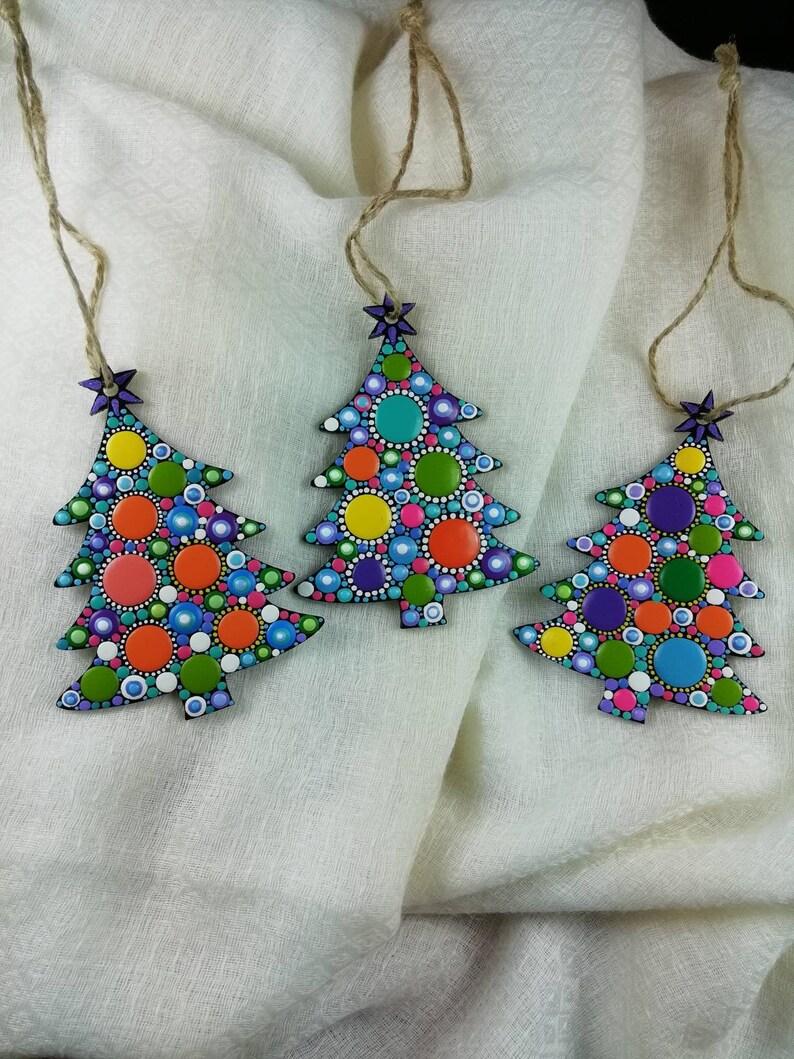Set of 3 home decor Christmas home decor Dot Art Christmas tree ornaments \u2013 wooden ornament Christmas rainbow dots.