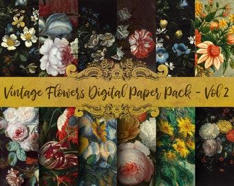 Vintage Flowers Digital Paper - Vol 2, Classical Painting, Oil Paint Clip Art, Scrapbook Paper, Antique Florals, Bouquet, Digital Download!