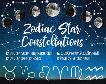 Zodiac Watercolors Clip Art, Zodiac Star Constellations, Vector Star Signs, Watercolor Vector Zodiac, Watercolor Horoscope, Digital Download