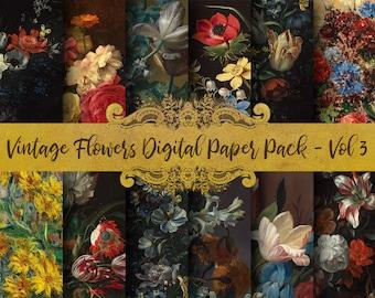 Vintage Flowers Digital Paper - Vol 3, Classical Painting, Oil Paint Clip Art, Scrapbook Paper, Antique Florals, Bouquet, Digital Download!