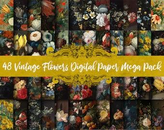 Vintage Flowers Digital Paper Megapack (Save 50%!) - Classical Painting, Oil Paint Clip Art, Scrapbook Paper, Digital Oil Paintings
