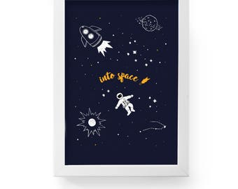"""INTO SPACE- printable poster A2 = 16,5 x 23,5""""   wall print"""