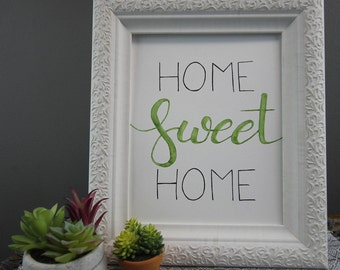 8x10-Hand Lettering-Home Sweet Home-Print