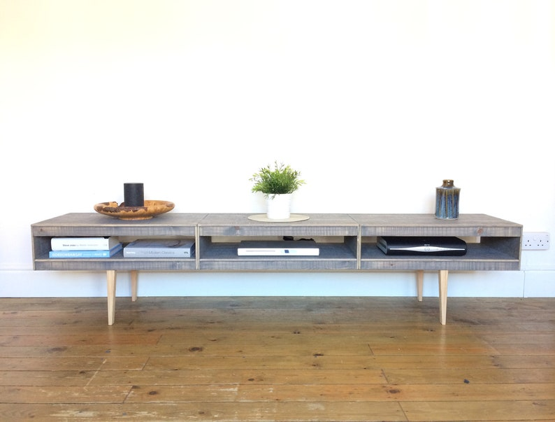 Tv Stand Media Storage Unit Low Sideboard Industrial Etsy