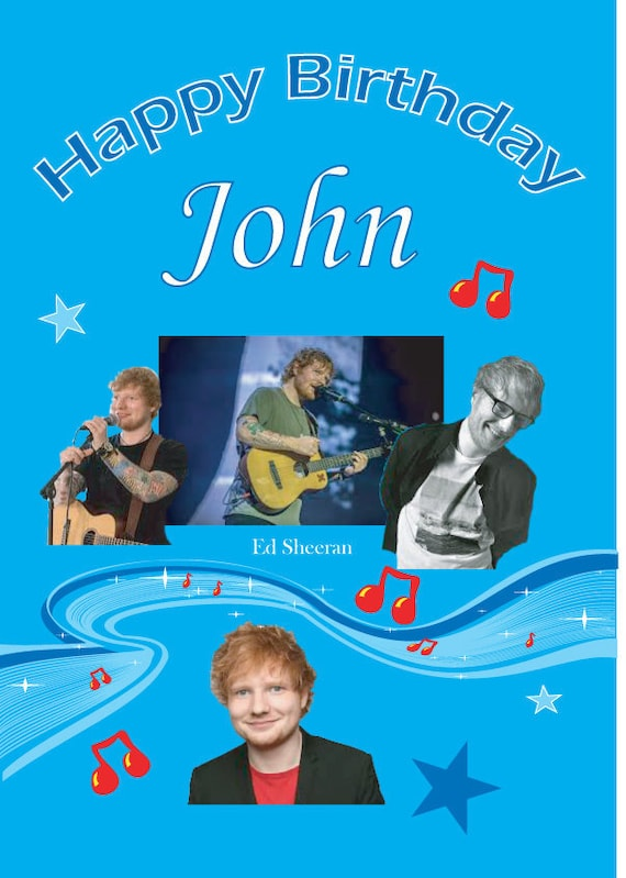 ANY NAME //AGE//RELATION ED SHEERAN Personalised Birthday Card! 2 COOL