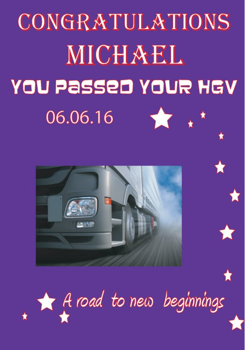 Personalised Congratulations card for Passing your HGV lorry test  Lorry  driver passed card