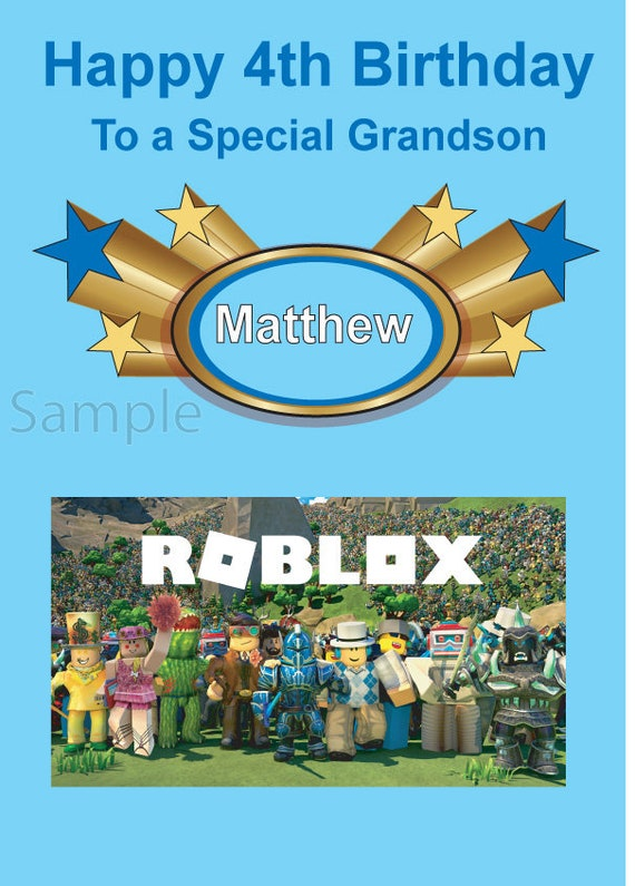 Roblox Birthday Card Roblox Personalised Birthday Card With An Image Of Roblox Gb Etsy