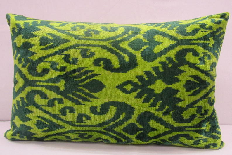 Free Shipping,16 inches x 24  inches,Silk Velvet ikat Pillow,Hand Loom Made Silk Velvet ikat Cushion Cover,ikat Fabric,Decorative Pillow