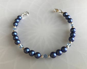 Blue Swarovski Pearl & Swarovski Crystal Bracelet With Sterling Silver Components