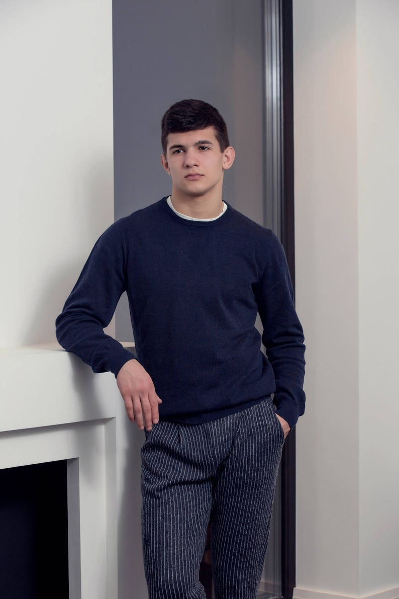 Knit Wool Sweater Navy and Beige Colour |Crew Neck Sweatshirt| Gift for Him | Classic Crew-Neck The Men\u2019s Style from Teoharis/&Co