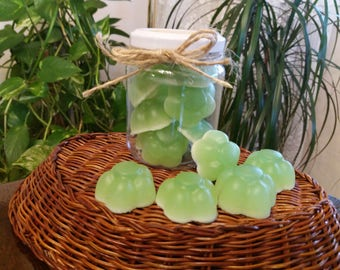 Jar with natural soaps made of Aloe Vera, olive oil, honey and lemon with flower shapes.