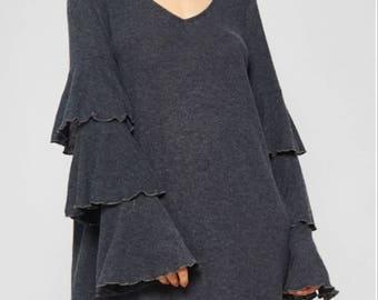 Shakin' It Up Tiered Ruffle Sleeve Dress - Gray