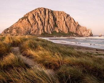 "Morro Rock Photo, Morro Bay Wall Art, California Central Coast Home Decor, Sunrise Landscape Photography, Beach Metal Print, ""Morro Sunrise"""