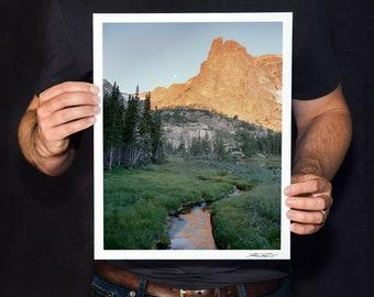 "Rocky Mountain National Park Photo, Notchtop Mountain Print, Colorado Landscape Photography, Fine Art Photography, ""Notchtop and Moon"""