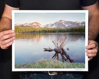 "Mountain Lake Photo, Colorado Mountain Lake Print, Rocky Mountain Sunrise Wall Art, Indian Peaks Photo, ""Brainard Lake"""