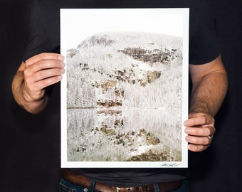 "Winter Lake Reflection Photo, Rocky Mountain National Park Photo, Snowy Landscape, Minimalist Fine Art Photography, ""Bear Lake in White"""
