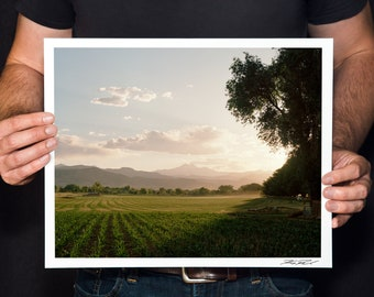 "Colorado Front Range Photo, Colorado Landscape Photography, Farm Wall Art, Longmont Print, Fine Art Photography, ""Twin Peaks View"""