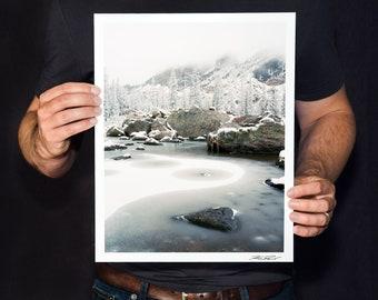 "Colorado Winter Print, Rocky Mountain National Park Winter Photo, Snow Mountain Art, Snowy Landscape Photography, ""Ice Circles"""