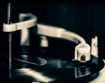 Fine art photographic print of a vintage turntable.