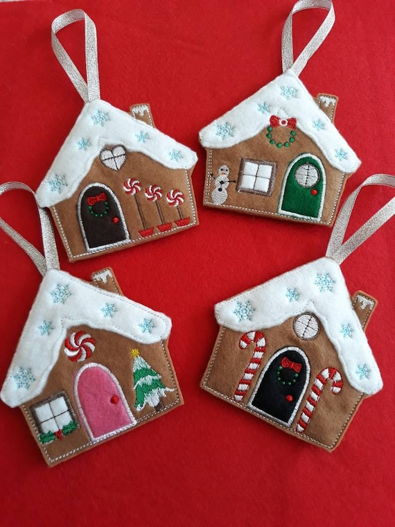 Gingerbread House Christmas Tree Decoration Felt Gingerbread House Baubles Gingerbread House Bauble Mini Gingerbread House