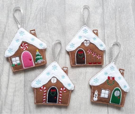 Gingerbread House Christmas Tree Decoration Felt Handmade Tree Ornament With Miniature Xmas Scenes Set Of Four Embroidered Cookie Keepsake