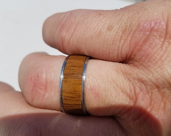 Silver Ring with Wood Inlay