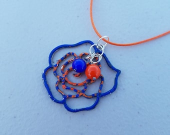 Blue and Orange Rose Charm Necklace