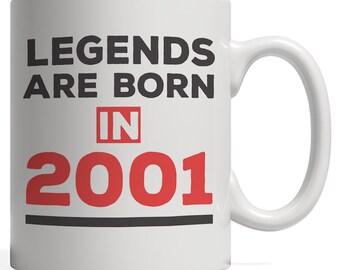 Legends Are Born In 2001 Mug