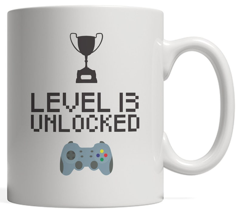 13th Birthday Mug Level 13 Unlocked Funny Gamer B Day Gift