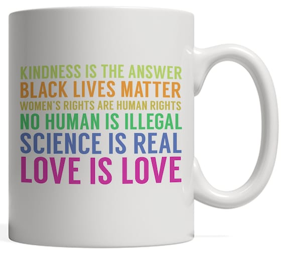 peace and love quotes on mug kindness is the answer black