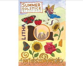 handmade Pagan Happy Summer Solstice Card with sunflower fairy design