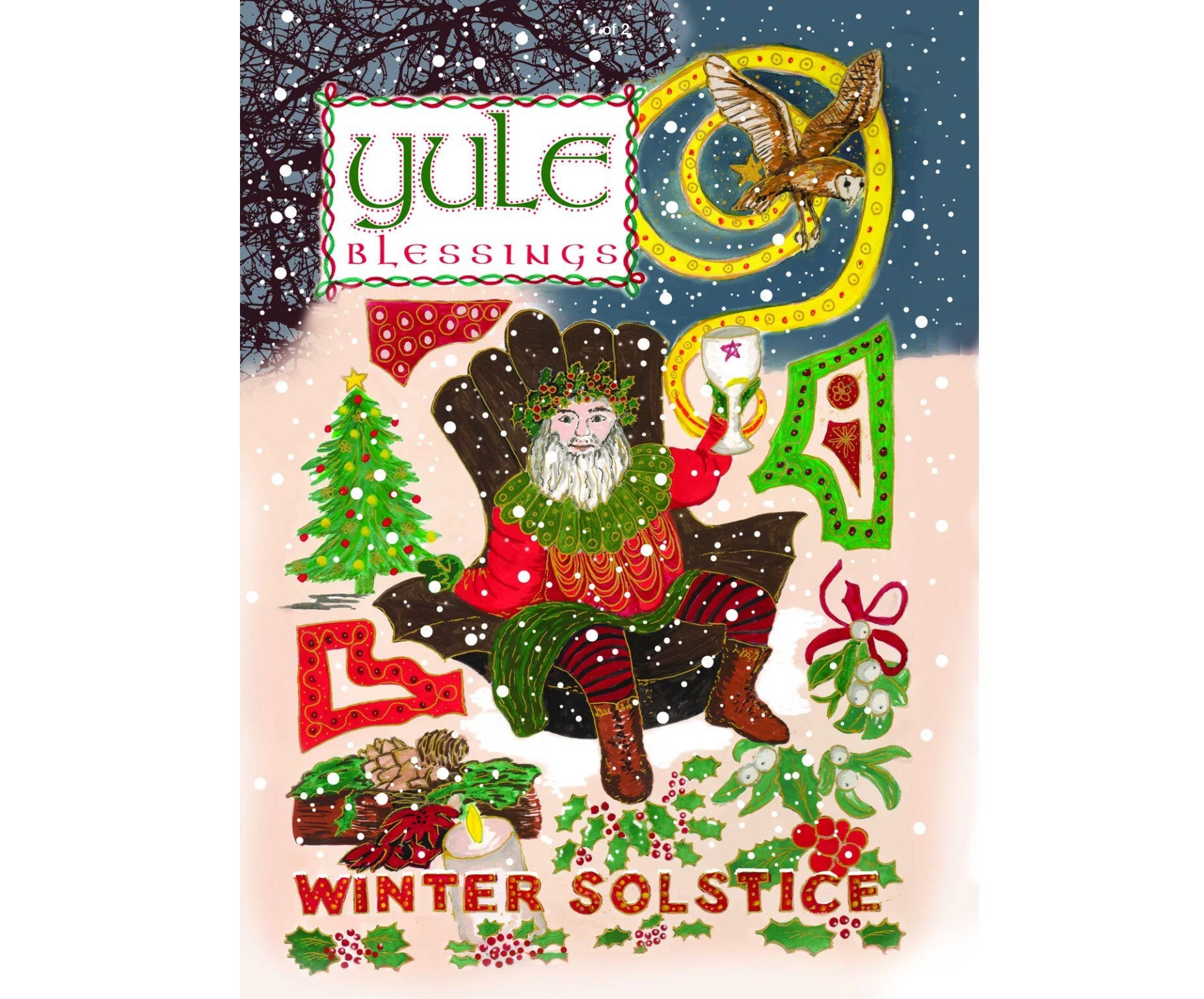 Yule Holly King Winter Solstice Colourful Pagan Greeting Card Etsy