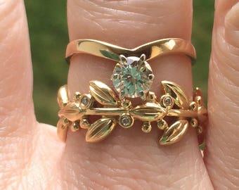 Vintage 14k boho custom diamond engagement ring