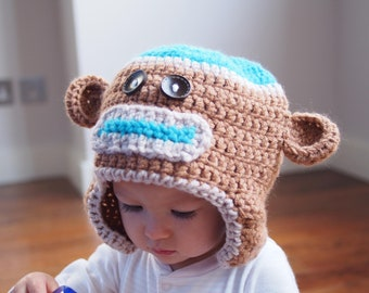 Sock monkey crochet hat - light brown ears with teal highlights and buttons  for eyes - handmade crochet hat f0b5bea9724d