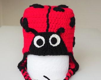 8f2fa6ab595 Ladybug crochet hat - ladybird crochet hat - red   black ladybug hat -  handmade crochet animal hat