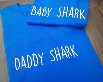 Baby shark tshirt, daddy shark tshirt, shark tshirt , shark tee, boys shark top, mens shark tshirt , shark top, novelty tshirt, mens gifts