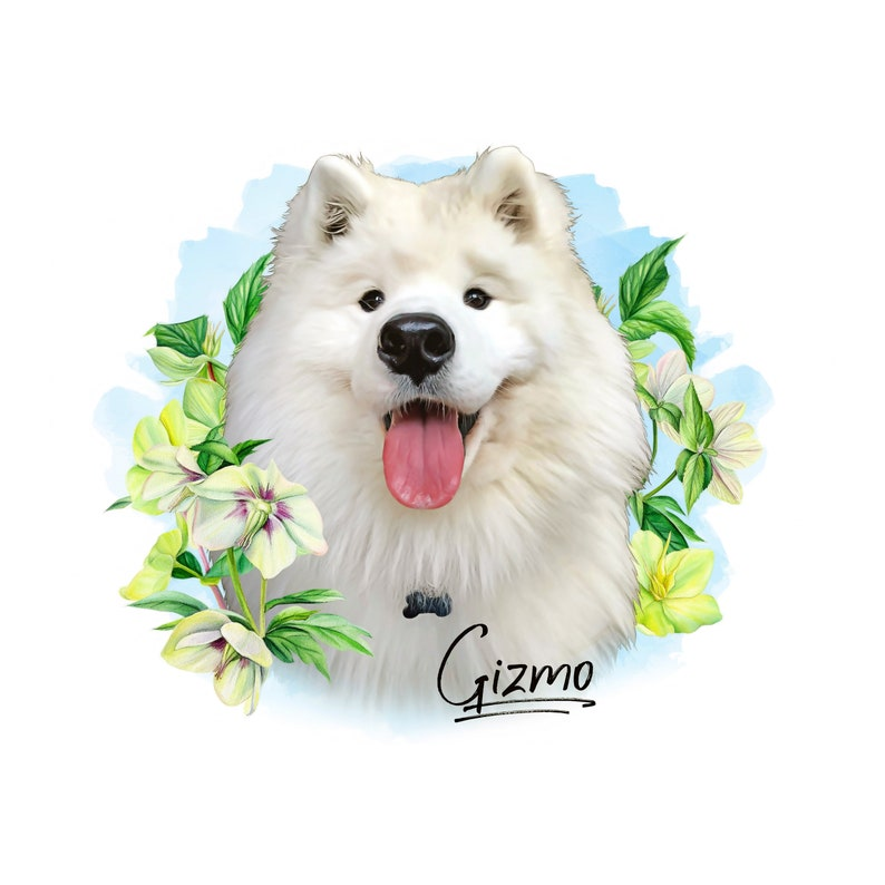 Digital Pet Portrait with flower,Custom Dog portrait,Pet memorial sympathy gift,Best friend birthday gift,fathers day gift for dog dad