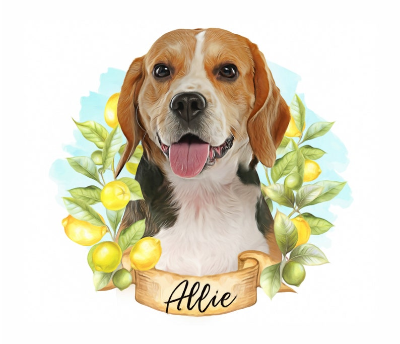 Custom Digital Pet Portrait,Dog portrait Personalized,Beagle Dog gift for dog mom,Pet memorial sympathy gift,Fathers day gift for him