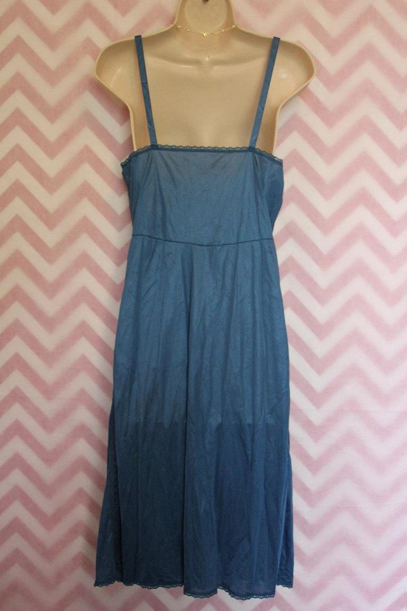 Vtg Texsheen Lingerie Blue Long Slip Open Lace Size 36 Nylon USA
