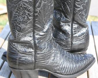 0d155c4b4e2 Justin Hornback Lizard 9D Cowboy Boots Brown Vintage Rare | Etsy