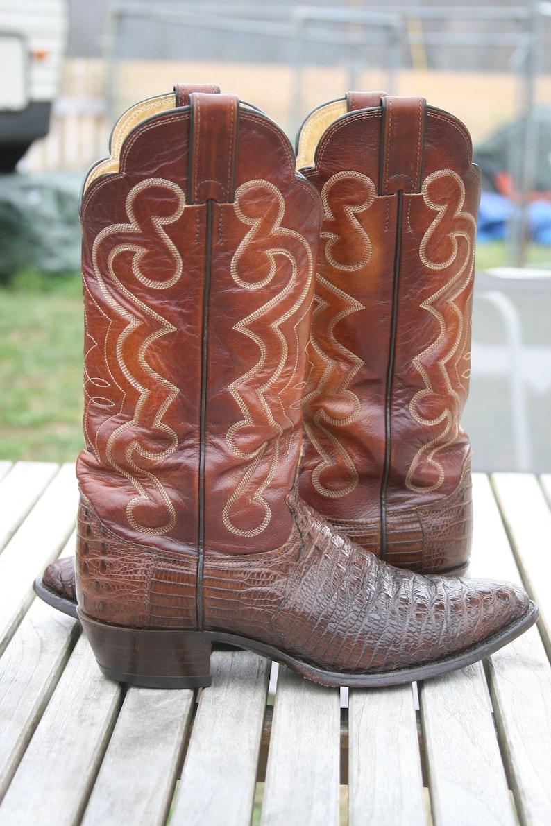 da90f049595 Justin Hornback Lizard 9D Cowboy Boots Brown Vintage Rare Exotic Horned Back