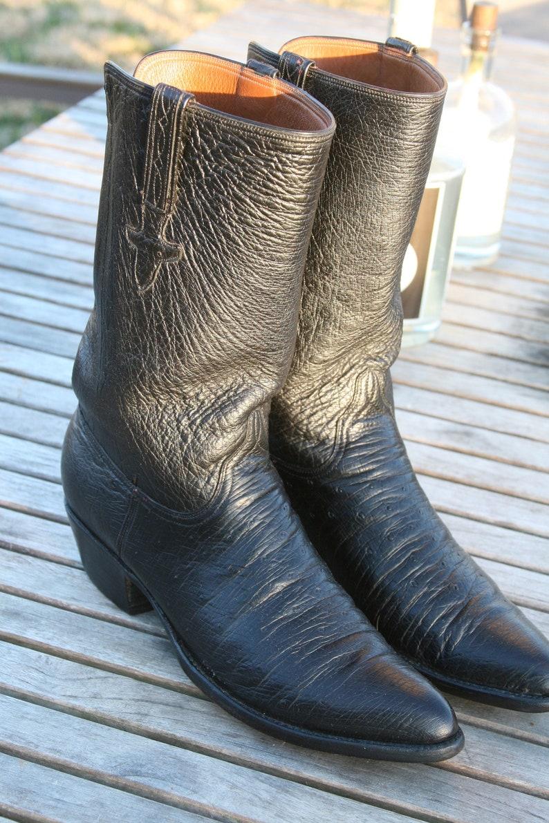 ae76989422d Custom Lucchese Full Shaft Smooth Ostrich 12.5B Handmade Vintage Cowboy  Boots